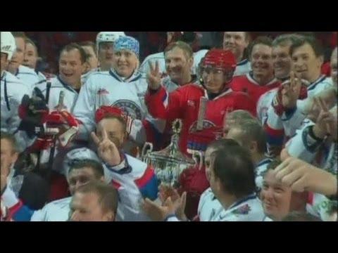 Vladimir Putin plays in an ice hockey game in Sochi