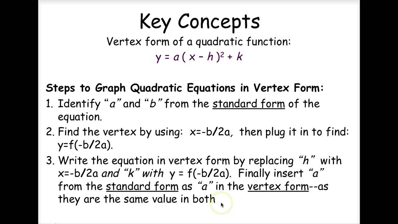 Algebra 2 write quadratic functions in vertex form youtube algebra 2 write quadratic functions in vertex form falaconquin
