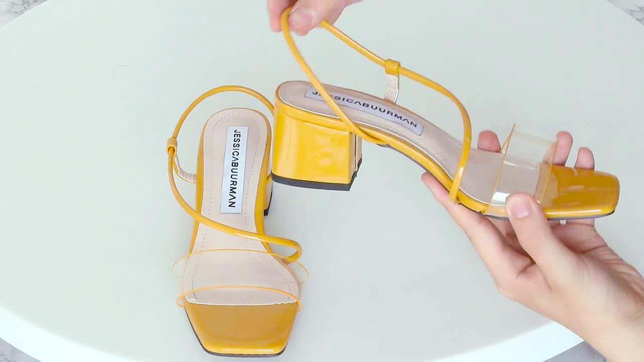 3de9b663b16 RAGIY PVC And Patent Leather Mid Heel Sandals - JESSICABUURMAN - YouTube