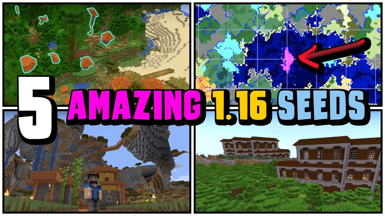 Top 5 Best New Seeds For Minecraft 1 16 Nether Update Bugged Villages Double Mansion Seed Youtube