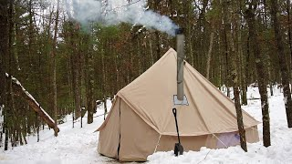 Winter camping in a canvas bell tent