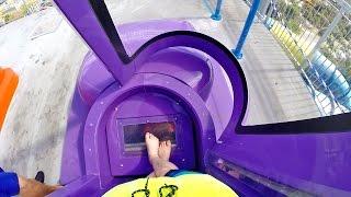 rapids water park purple brain drain new 2016 superloop trapdoor slide