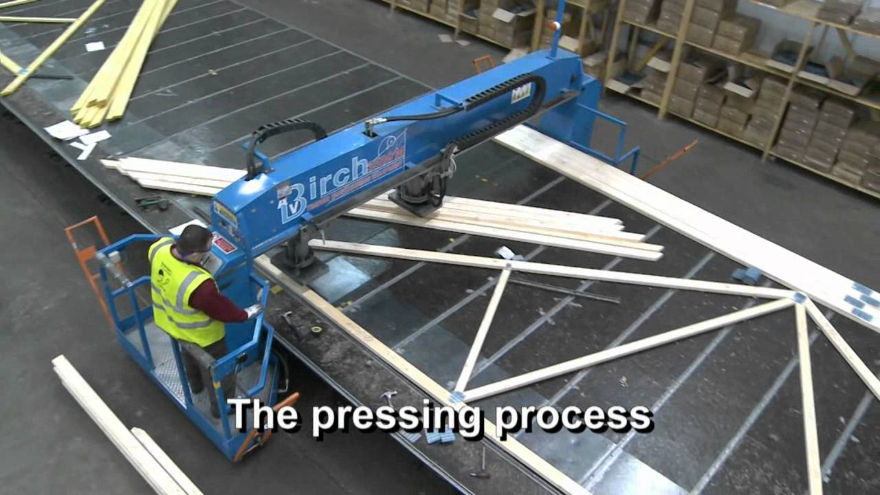 Pasquill manufacturing process roof trusses 3 youtube for Manufactured roof trusses