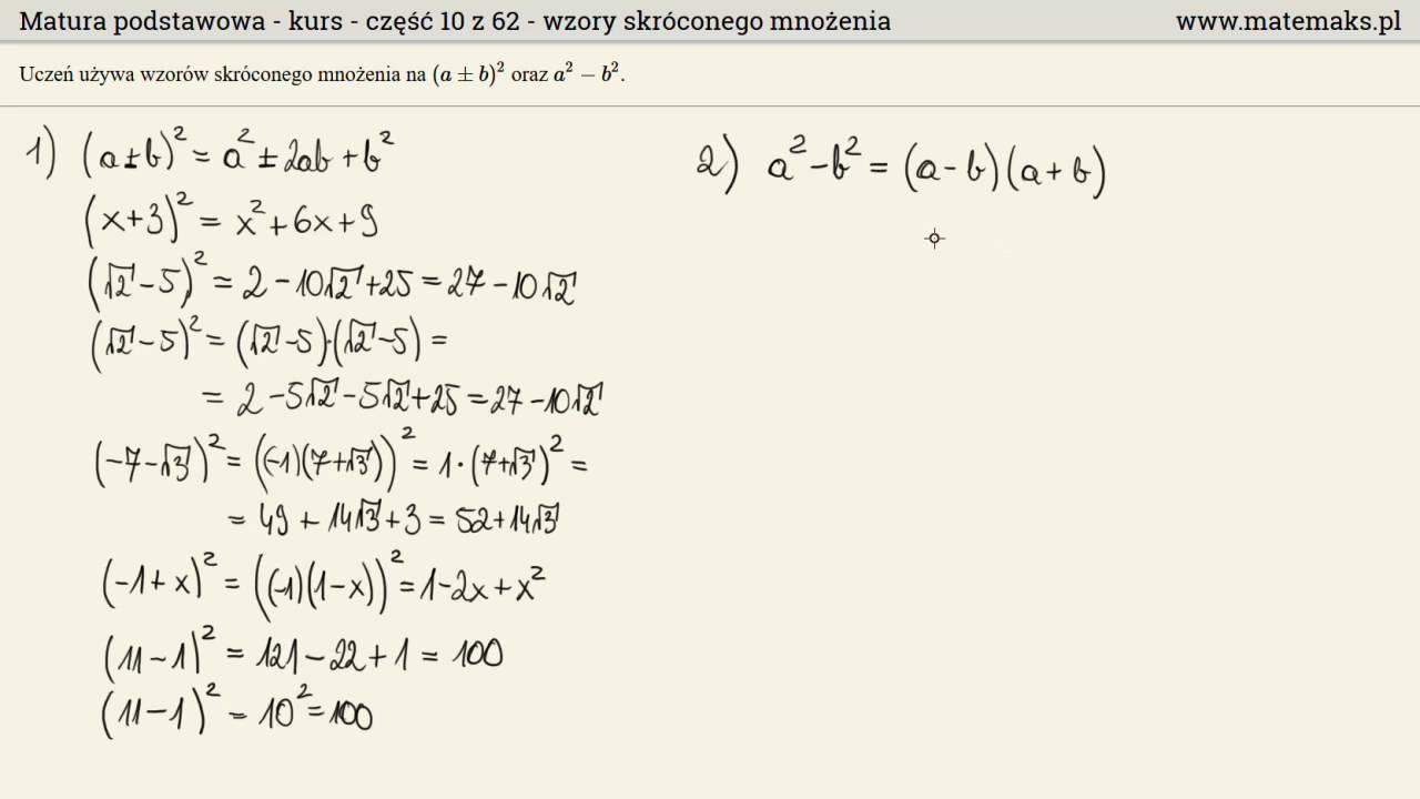 wzory matematyczne matura rozszerzona