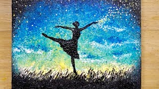 Aluminum painting technique / How to draw a dancing girl with stars