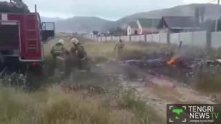 Видео с места крушения самолёта близ Алматы