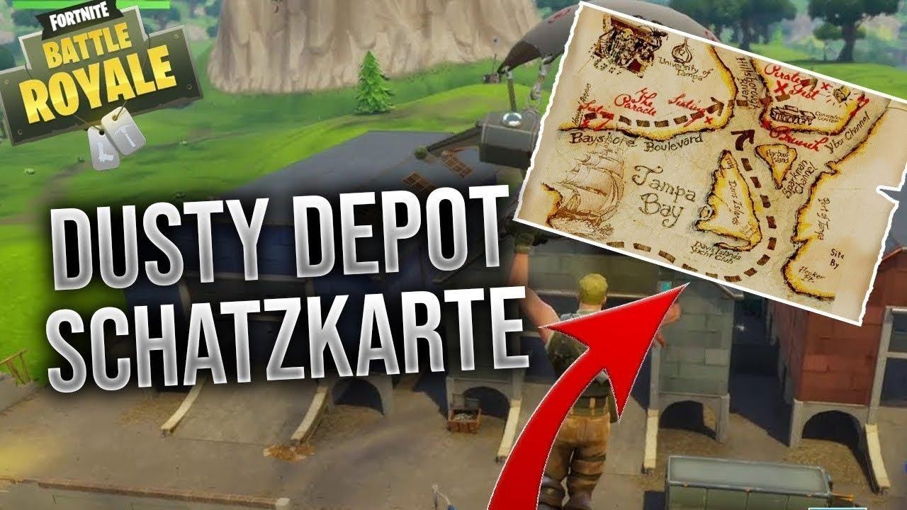 Die Fortnite Schatzkarte Bei Dusty Depot Enthullt Fortnite Battle