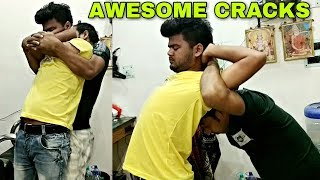 Hair cracking Powerful head and body massage By Indian barber | Amazing neck crack | ASMR
