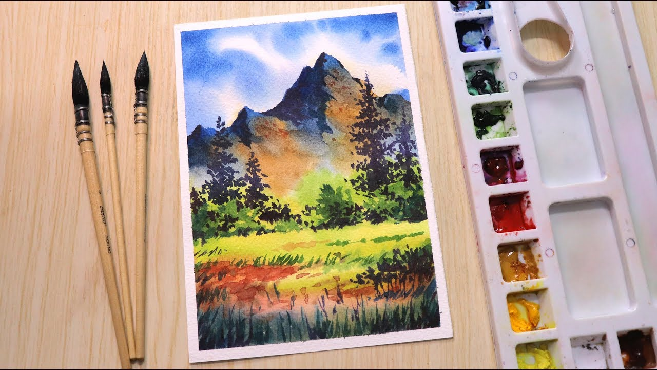 Watercolor Painting Of Beautiful Mountain Landscape