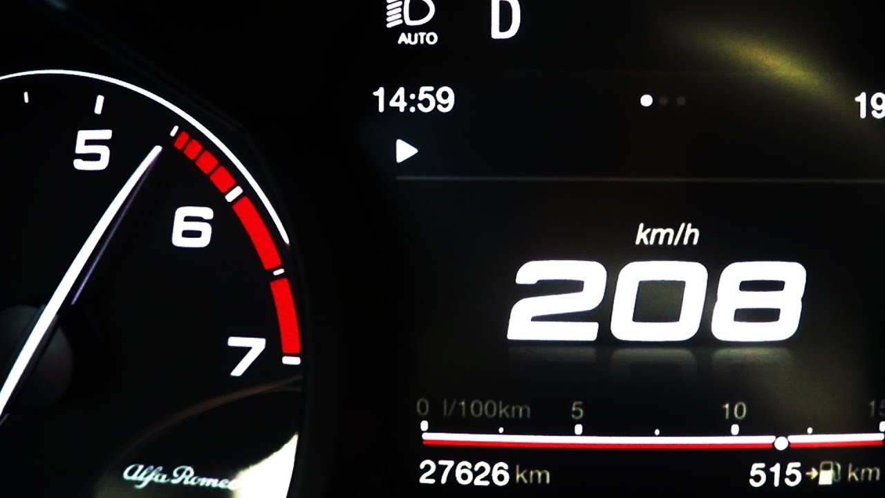 2018 Alfa Romeo Stelvio 2 0 Turbo 0 100 Kmh Kph 0 60 Mph Tachovideo Beschleunigung Acceleration