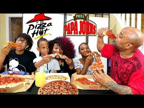 PIZZA HUT & PAPA JOHNS MUKBANG!! FAMILY EDITION!