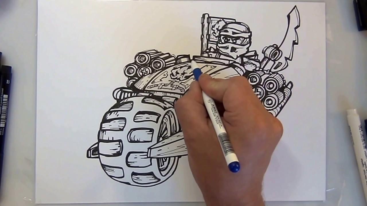 How To Draw Ninjago Blaster Bike Lego Step By Step Youtube