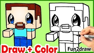 How to Draw Steve Minecraft Cute & Easy + Color step by step - Fun2draw