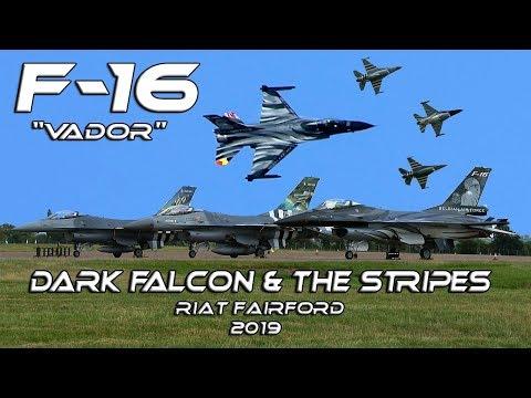 "4K UHD F-16 Dark Falcon""Vador""  with The Stripes  RIAT 2019 Splendid Flat Show"