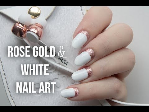 Rose gold white ruffian nail art youtube rose gold white ruffian nail art prinsesfo Images