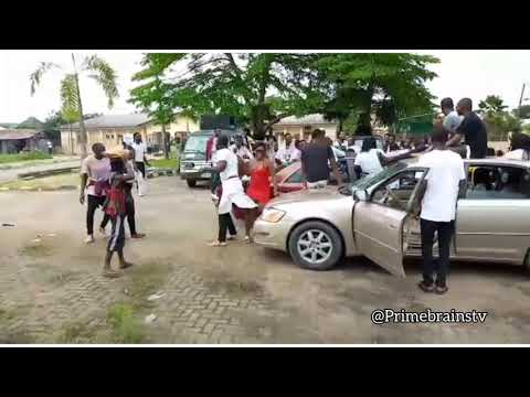 Tragic moment as car hits students while celebrating the end of the semester (See Video)