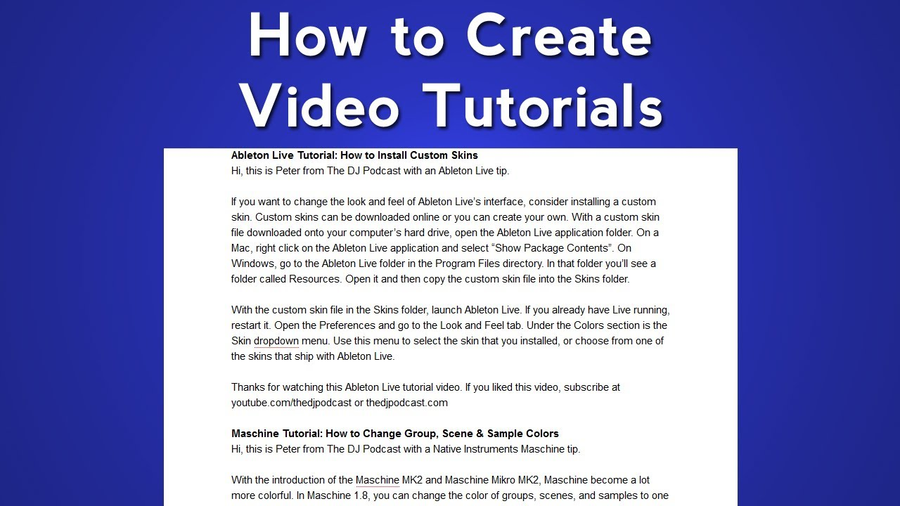 how to write a script for a video tutorial