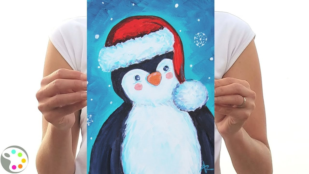 Christmas Painting Tutorial Easy Cute Panguin Youtube