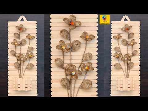 Wall Hanging Flower Vase from Jute, Popsicle Stick | Easy DIY Craft | Wall Showpiece for Room Decor