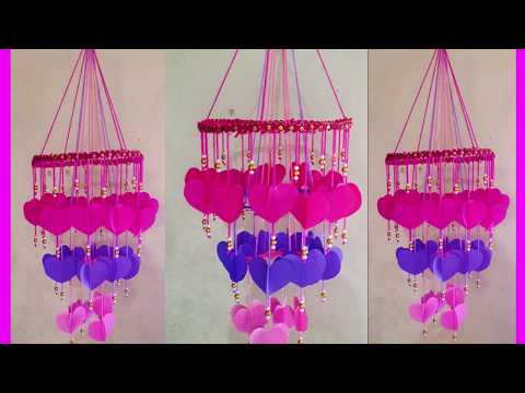 DIY paper heart chandelier | colored paper heart wind chime | DIY craft out of colored  paper