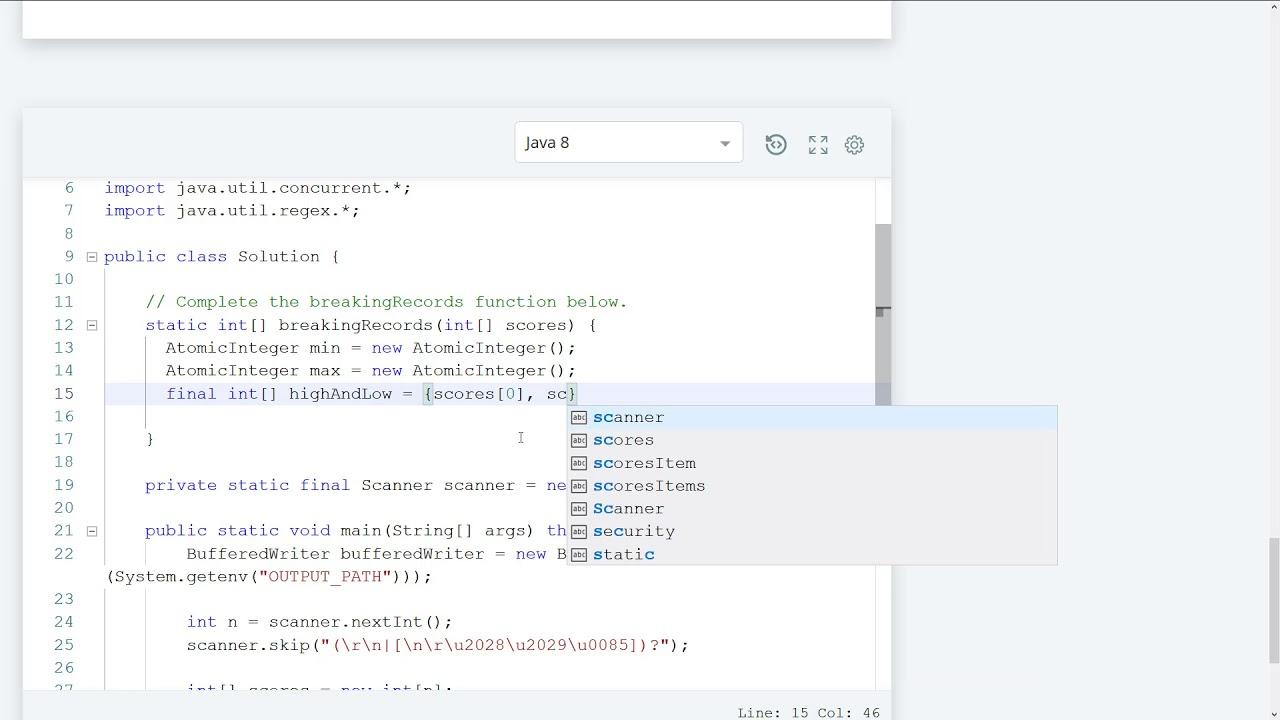 Hackerrank Breaking the Records Java Solution