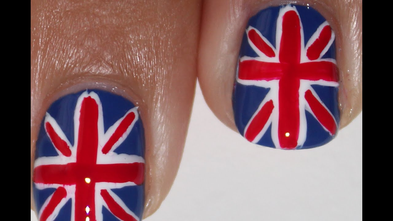 Union Jack Flag British Nail Art Tutorial Youtube