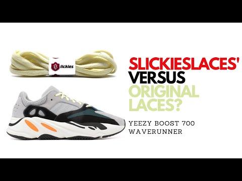 10d2d245c2eea Comparison Test   Slickieslaces Yeezy 700 Waverunner Shoe Laces Vs Stock  Original Laces