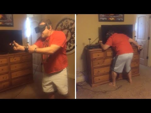 Matt Provo - Dad Playing Virtual Reality Goes Head-First Into the TV