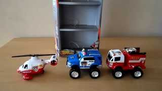 TOP 3 EMERGENCY VEHICLES SHIELD SQUAD TOYS INC FIRE ENGINE POLICE SUV AND HELICOPTER