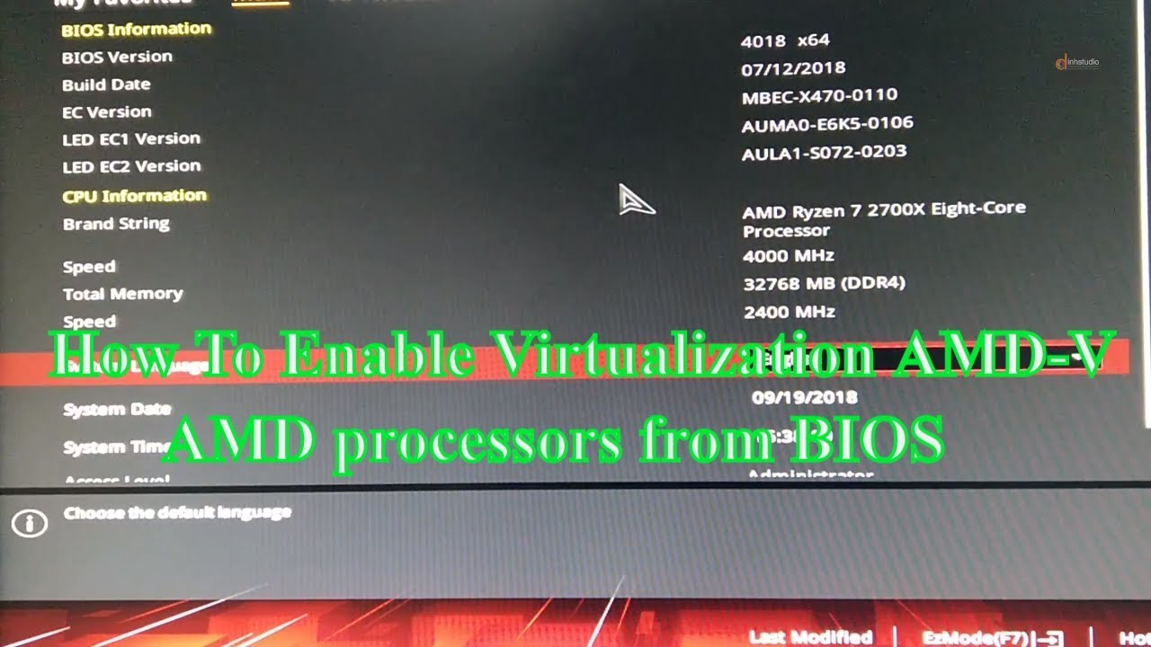 How To Enable Virtualization AMD-V AMD processors from BIOS