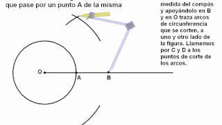 Trazo de la recta tangente a la circunferencia que pasa por un punto A de la misma- 3 de secundaria