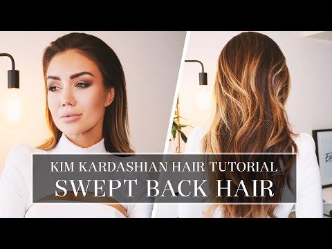 HAIR TUTORIAL - KIM KARDASHIAN SWEPT BACK HAIR | Pia Muehlenbeck