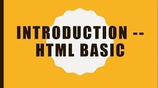 Introduction -- HTML Basic (English)