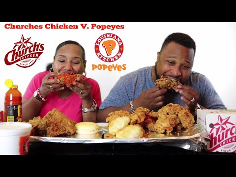 Church's Chicken VS.  Popeyes Chicken/Review/Mukbang/Eat with Us