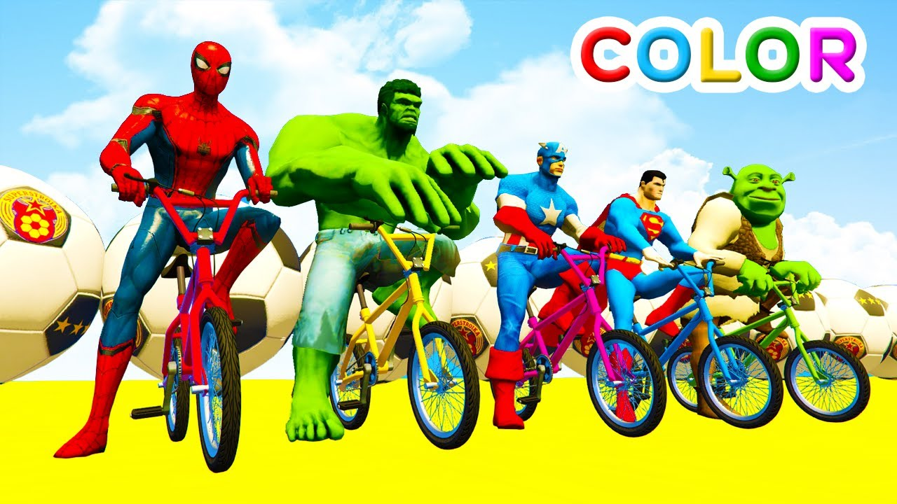 LEARN COLORS BMX & Helicopters Bus Jump for kids w/ Cars Superheroes Cartoon for children!