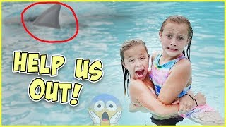 Video GET OUT! THERE'S A SHARK IN THE POOL! JESSE GIVES RORY DANGEROUS SWIM LESSONS! download MP3, 3GP, MP4, WEBM, AVI, FLV November 2017