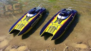 RC ADVENTURES - UNBOXiNG 2 ROCKSTAR 48-inch Catamaran Gas Powered Boats & First Race