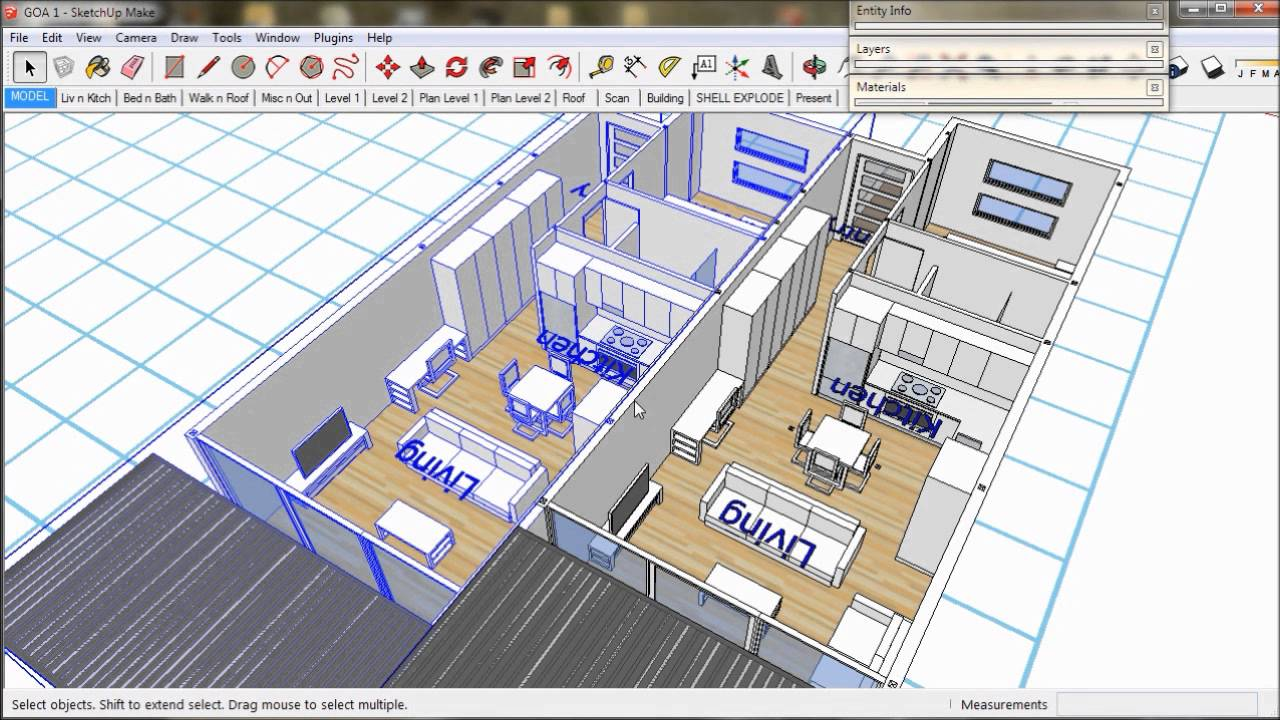 How to design an apartment building with sketchup part 1 for How to build a blueprint