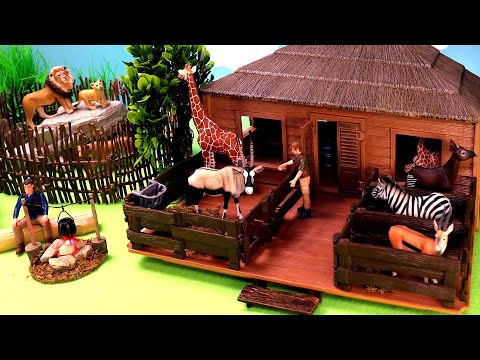 Safari Animals Figurines and Fun Rescue Adventure Playset