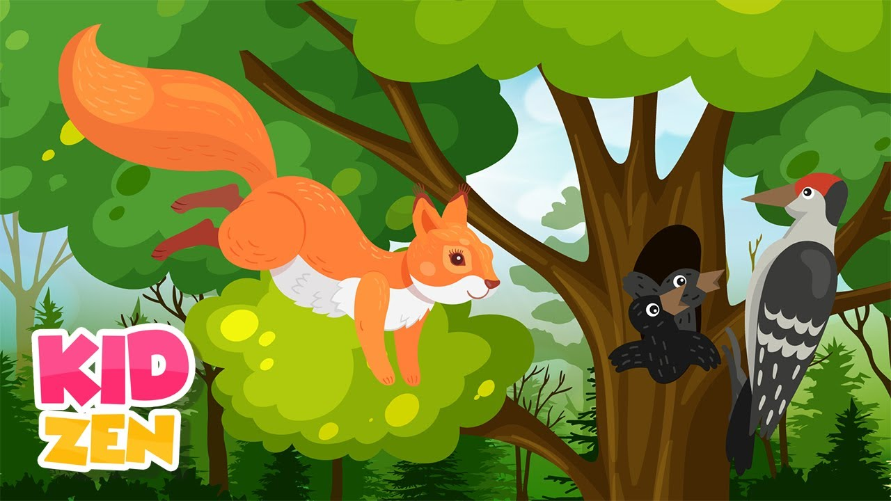 10 HOURS of Relaxing Music for Kids: Squirrel Habits ?️ Baby Piano Sleep Music, Singing Birds