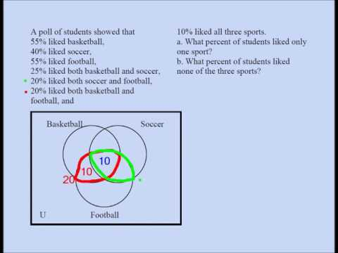 Three Set Venn Diagram Problem 01 Youtube