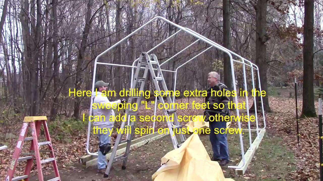 How Do I Build A Hf 10 X 17 Portable Garage Shows Tarp Install Youtube