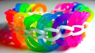 Красивый браслет из резинок на Карандашах, Рогатке или Станке. Браслеты из резиночек RAINBOW LOOM(, 2015-07-06T17:08:53.000Z)