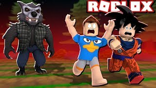 ESCAPE FROM THE WEREWOLF IN THE ROBLOX!!
