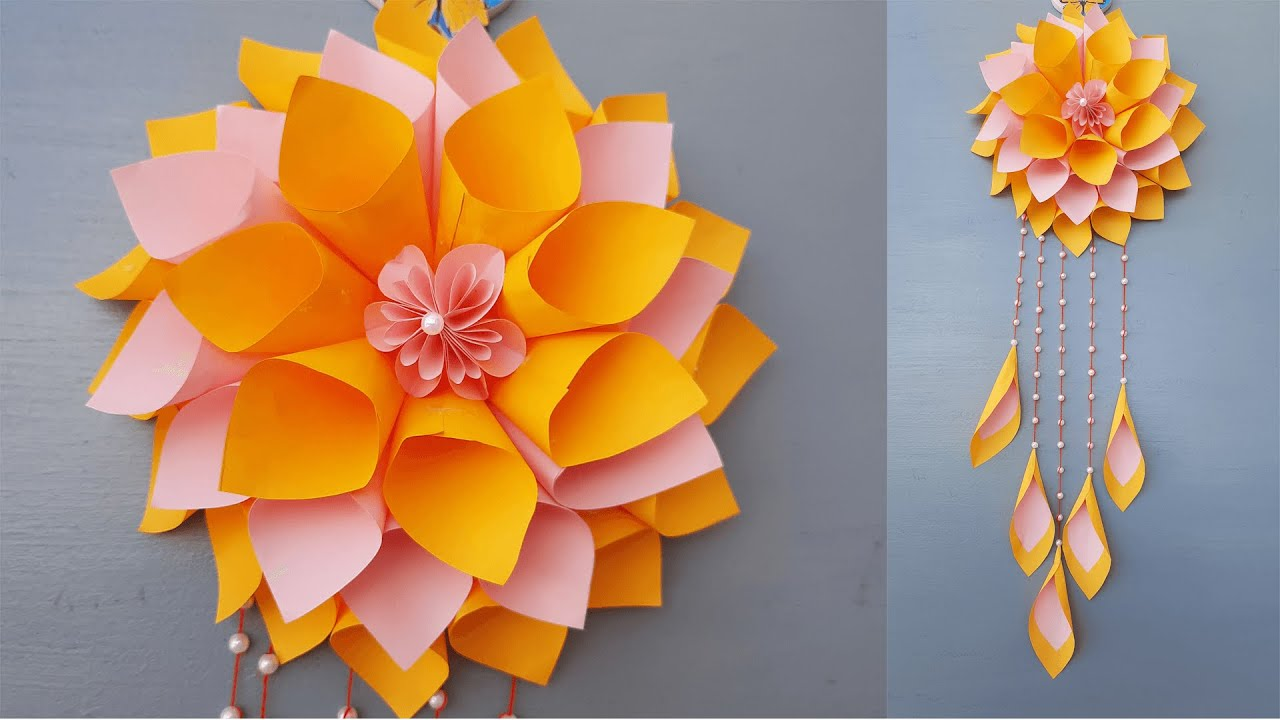Origami paper flower/how to make beautiful paper flower/flower making/paper wallmate/wall hanging