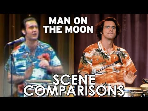 Andy Kaufman and Jim Carrey's Man on the Moon (1999) - scene comparisons