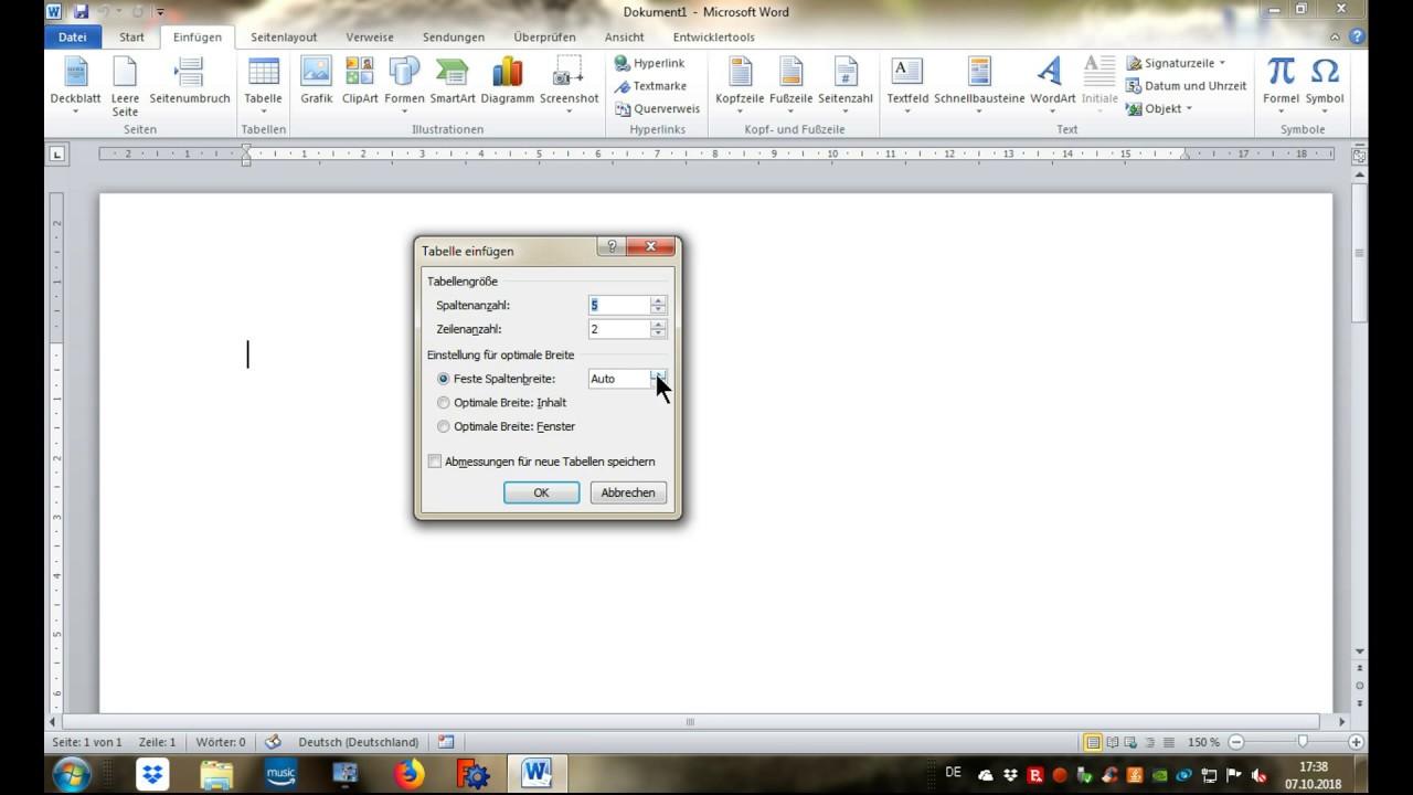 Ms Office Word 2010 Tutorial Tabelle Einfügen Und Bearbeiten