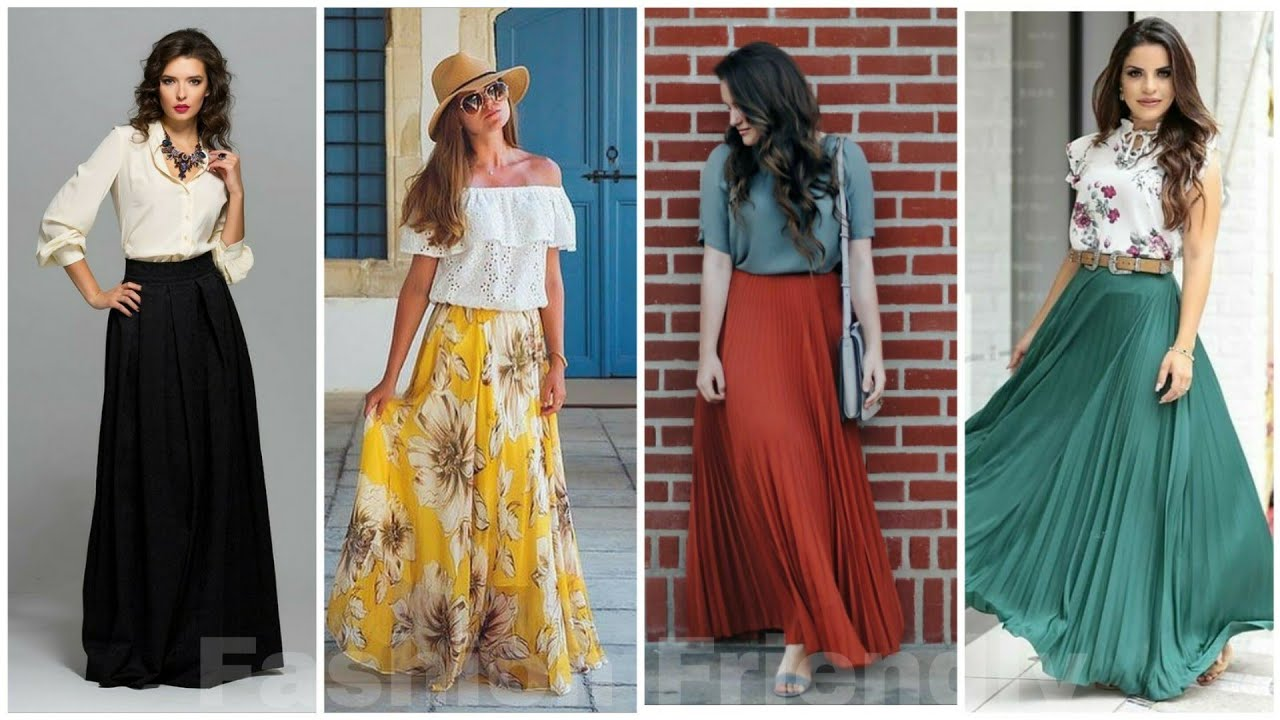 7 ways to wear long skirts , Long skirt outfit ideas for girls  Long  skirt Designs 7
