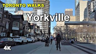 Toronto Walks - Yorkville neighbourhood on a weekday afternoon [4K]