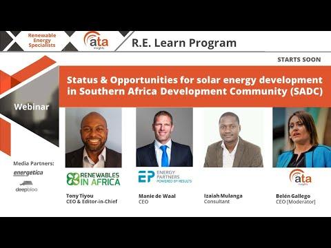 Webinar: Status & Opportunities for solar energy development in SADC